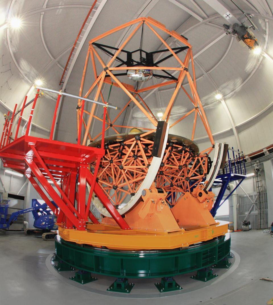 Kyoto University's 3.8 meter Seimei Telescope atop a mountain called Okayama to the west of Kyoto, Japan.