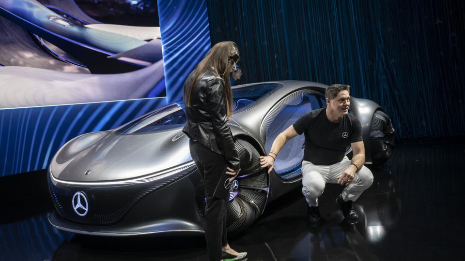 Daimler chief design officer Gorden Wagener with Vision AVTR at CES 2020