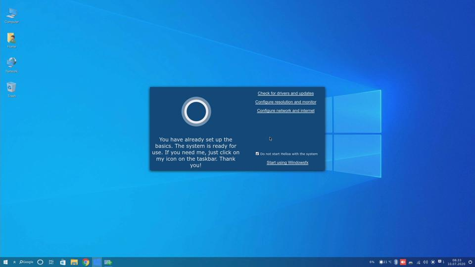 ″Helloa″ which is totally NOT Cortana, walks users through the initial setup of their new Linux OS
