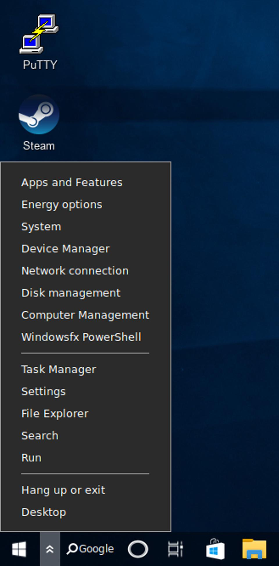 Familiar names and functionality, but the apps behind the menu are obviously Linux ones.