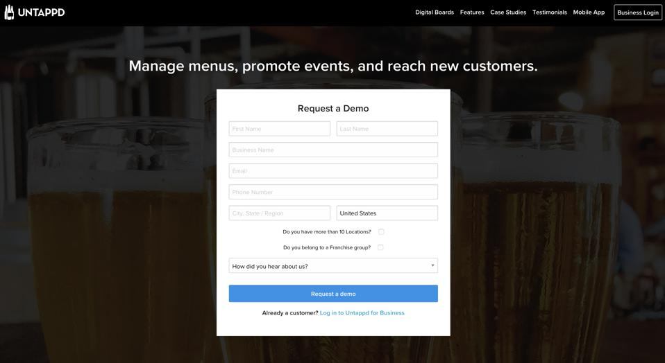 A screenshot from the Untappd for Business web platform