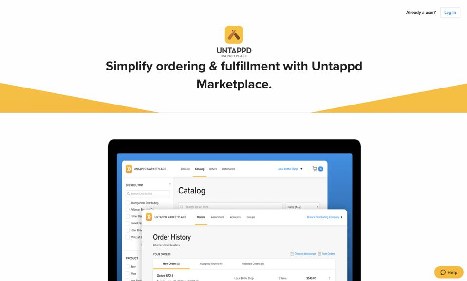 A screenshot from the Untappd Marketplace web platform