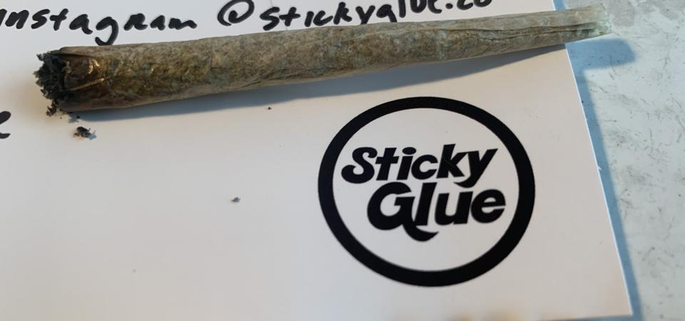 a joint rolled with sticky glue