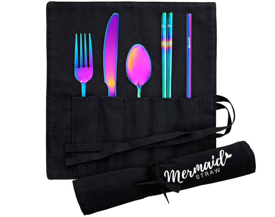 iridescent utensils in black wrap