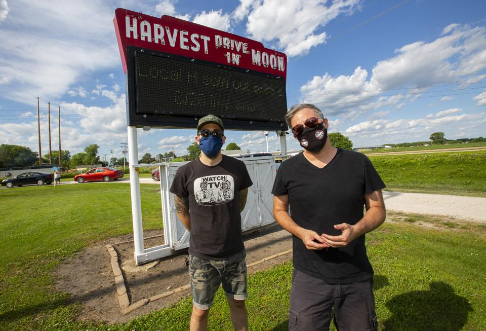 Ryan Harding (left) and Scott Lucas (right) prior to the first of two sold out Local H drive-in theater concerts. Thursday, June 25, 2020 at Harvest Moon Twin Drive-In Movie Theatre in Gibson City, IL (Photo by Barry Brecheisen)