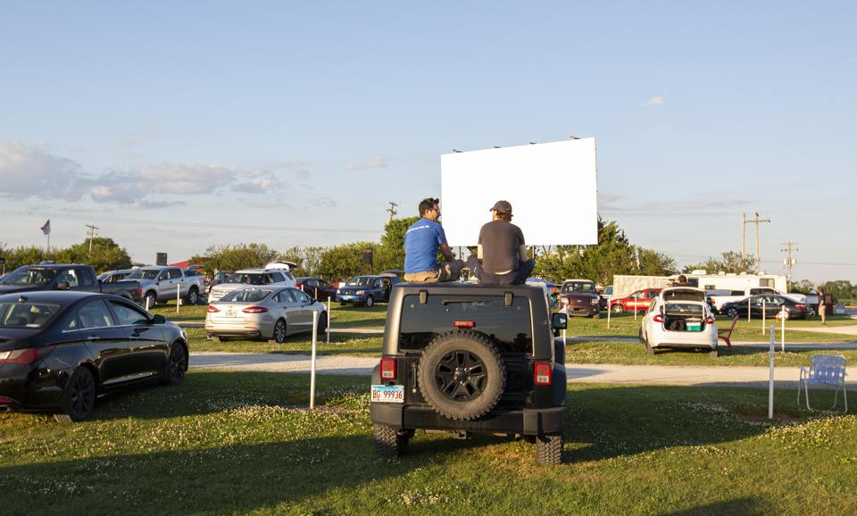 Socially distanced fans take in the first of two sold out drive-in theater concerts by Local H, a performance necessity amidst the coronavirus pandemic. Thursday, June 25, 2020 at Harvest Moon Drive-In Theatre in Gibson City, IL (Photo by Barry Brecheisen)
