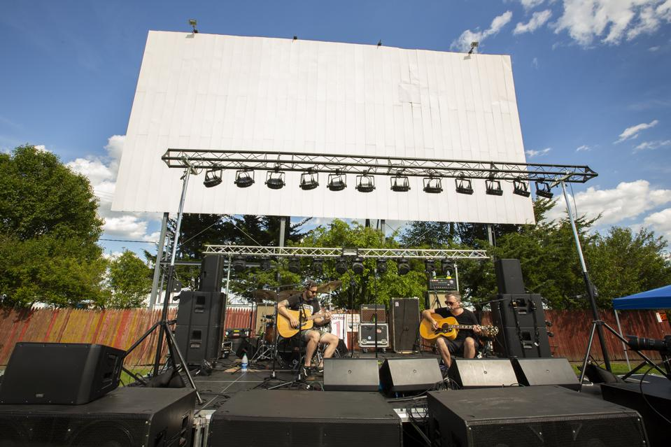 Local H soundchecks acoustically prior to the first of two sold out drive-in theater concerts at Harvest Moon Drive-In. Thursday, June 25, 2020 in Gibson City, IL (Photo by Barry Brecheisen)
