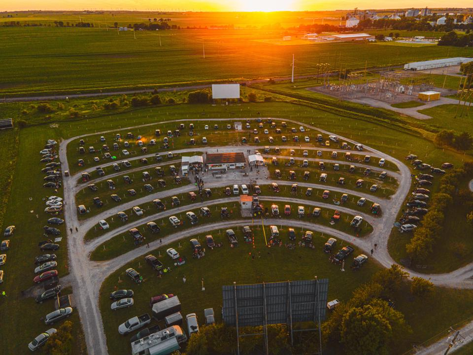 Attendance was capped at 260 socially distanced vehicles during a pair of Local H concerts at the Harvest Moon Twin Drive-In Movie Theatre in Gibson City, IL (Photo by John Oakes)