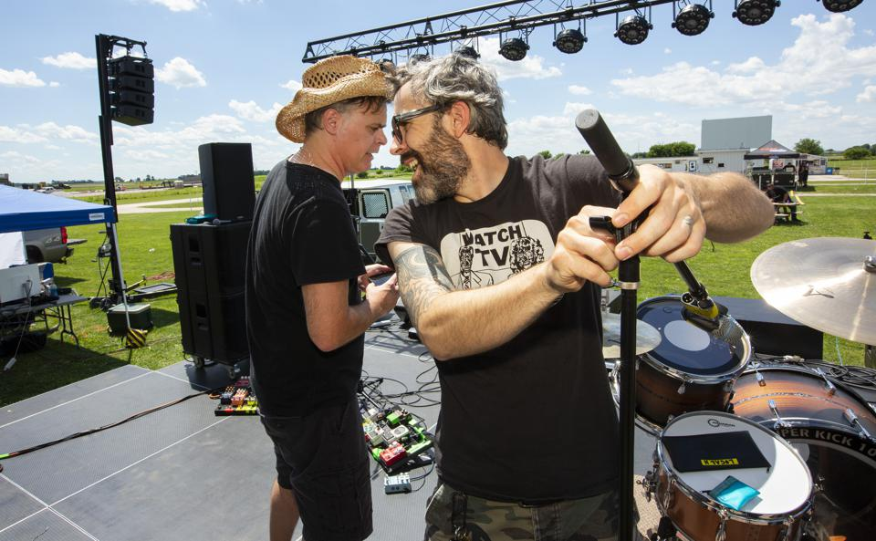 Scott Lucas (left) and Ryan Harding (right) of Local H on stage during soundcheck prior to the first of two sold out concerts at the Harvest Moon Drive-In Theatre. Thursday, June 25, 2020 in Gibson City, IL (Photo by Barry Brecheisen)