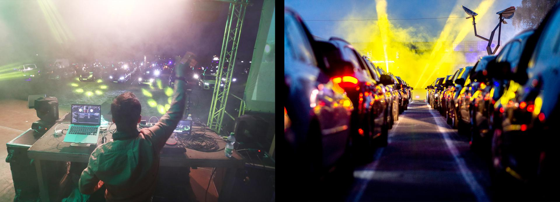 Left: Lower Saxony, Schüttorf: Guests park their cars during a car disco in the parking lot of the disco ″Index″. This large capacity discotheque in Grafschaft Bentheim is offering a car disco for the second time. In 250 cars a total of 500 guests can participate. Right: DJ Bonsai is on stage at a car disco. Due to the Corona pandemic, major events are still not possible. In search of alternatives the Autodisco was brought into being. Up to 250 cars have space on the premises and can celebrate until 1 am.