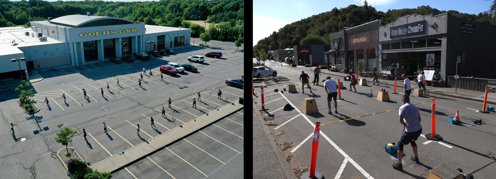 Left; An aerial view of Fitness Instructor Felicia Brunner conducting a Zumba class in the parking lot of Gold's Gym Islip on June 26, 2020 in Islip, New York. New York Governor Andrew Cuomo announced that gyms along with malls and movie theaters, will not be permitted to reopen during phase 4 until New York's Health Department determines if air filtering systems are circulating the coronavirus;  Ross Valley Fitness (formerly Ross Valley Crossfit) members participate in an outdoor socially distanced workout class on June 13, 2020 in San Anselmo, California. Members of Ross Valley Fitness were able to participate in their first in-person workout class since gyms were closed due to the coronavirus COVID-19 pandemic. The town of San Anselmo closed off streets on weekends to allow businesses like gyms and restaurants to have more outdoor space to allow for their customers to have more space to socially distance.