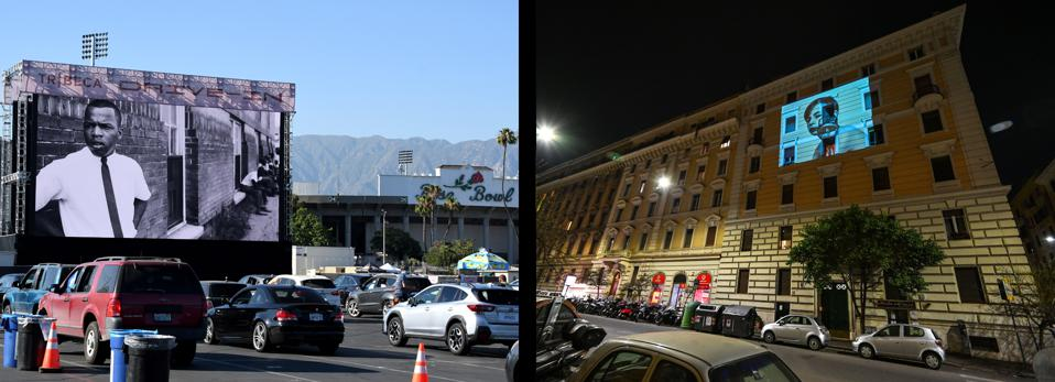 Left; Scenes from John Lewis: Good Trouble is shown during the Tribeca Drive-In at the Rose Bowl Stadium parking lot in Pasadena on Thursday, July 2, 2020. Right: A feature film is projected on the facade of a building in Rome on March 17, 2020 as part of a ″Cinema from Home″ (Cinema da Casa) event by the association ″Alice in the Cities″ (Alice nella Citta) to entertain confined residents during the coronavirus COVID-19 crisis.