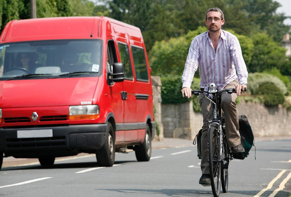 Close pass no helmet bicycle