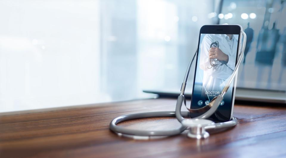 A smartphone with a telehealth application