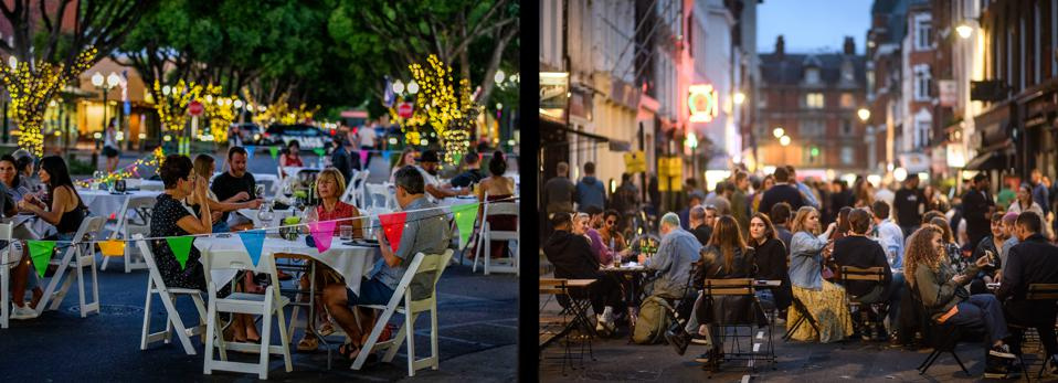 Left: Customers enjoy dinner and drinks in the middle of State Street at Caprice Restaurant and Bar in Redlands, CA, July 9, 2020. Right: Crowds gather in the pedestrianized streets in Soho, London, as lockdown restrictions were eased across England, July 5, 2020.
