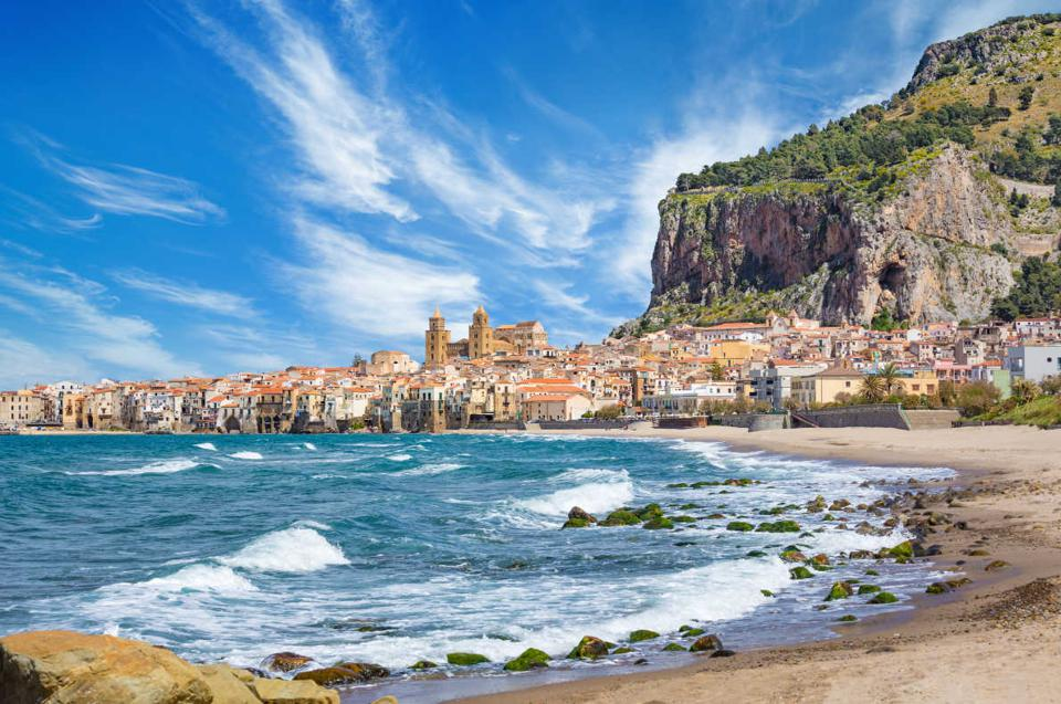 The old port and fishing town of Cefalu inc Sicily, Italy