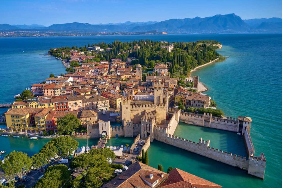 Sirmione, located in one of the peninsulas of Lake Garda in the Lombardia region,  Italy