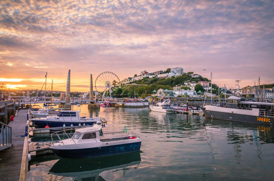 Beach town of Torquay in Devon, England