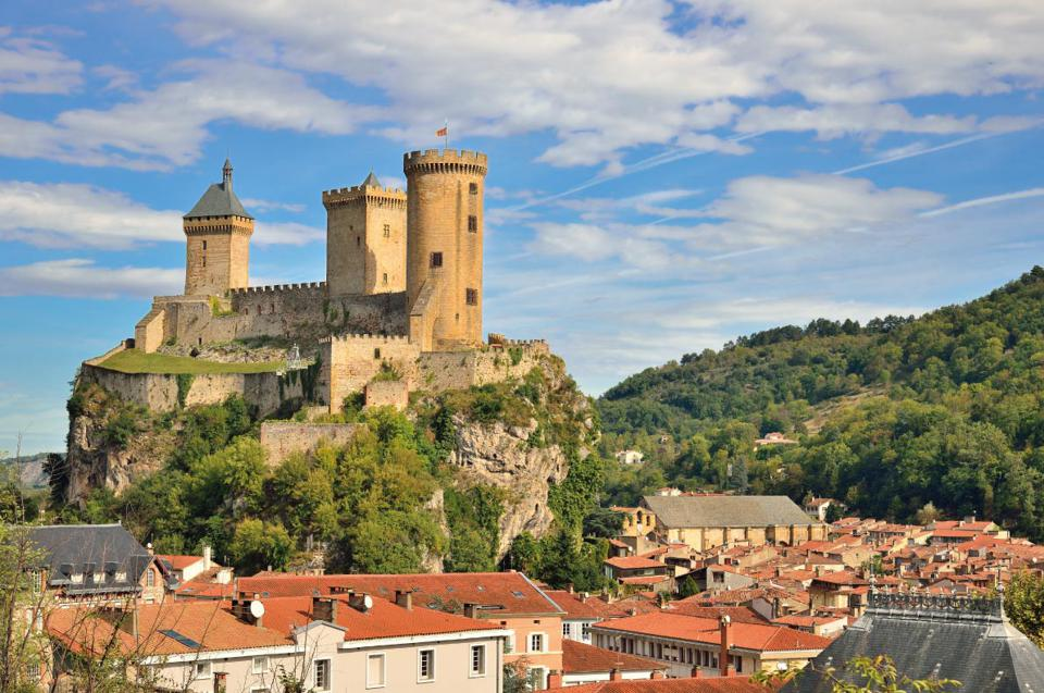Picturesque town of Foix Ariege, at the foot of the Pyrenees, France.