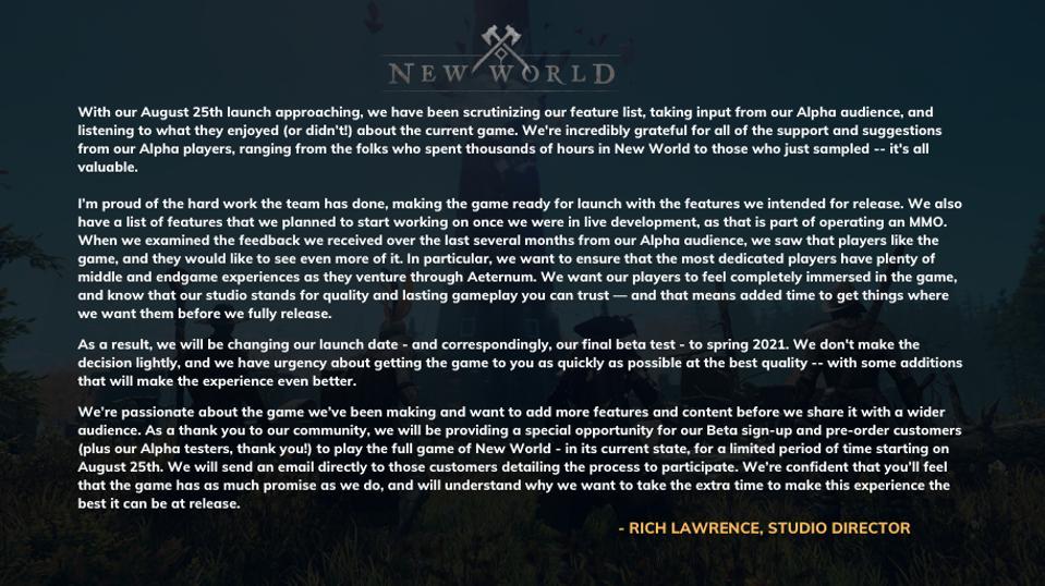 New World delay message