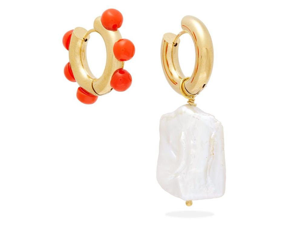 Mismatched baroque pearl & gold-plated earrings
