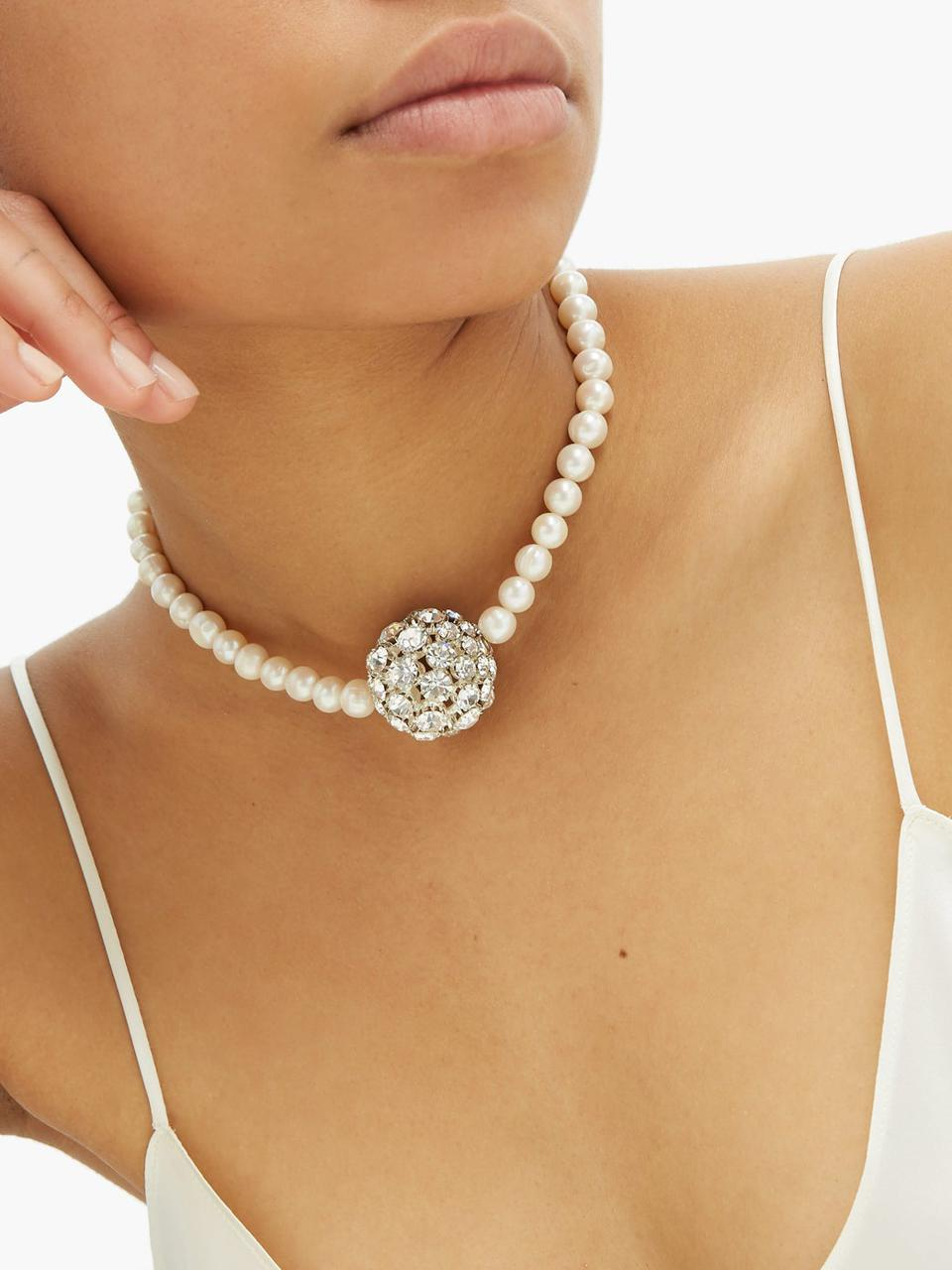 Crystal and freshwater-pearl gold-plated necklace