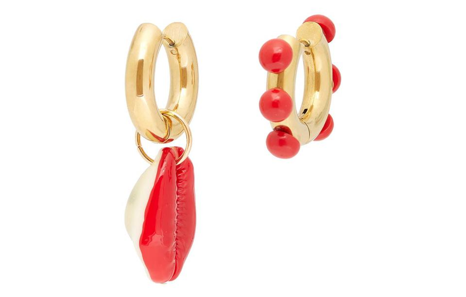 Mismatched cowry-shell gold-plated earrings
