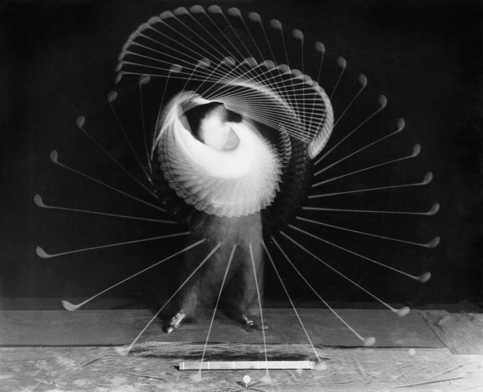 Vintage photo of Bobby Jones swinging a drive