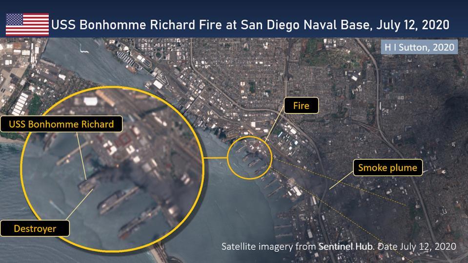Satellite Image of fire aboard US Navy Assault Carrier USS Bonhomme Richard in San Diego