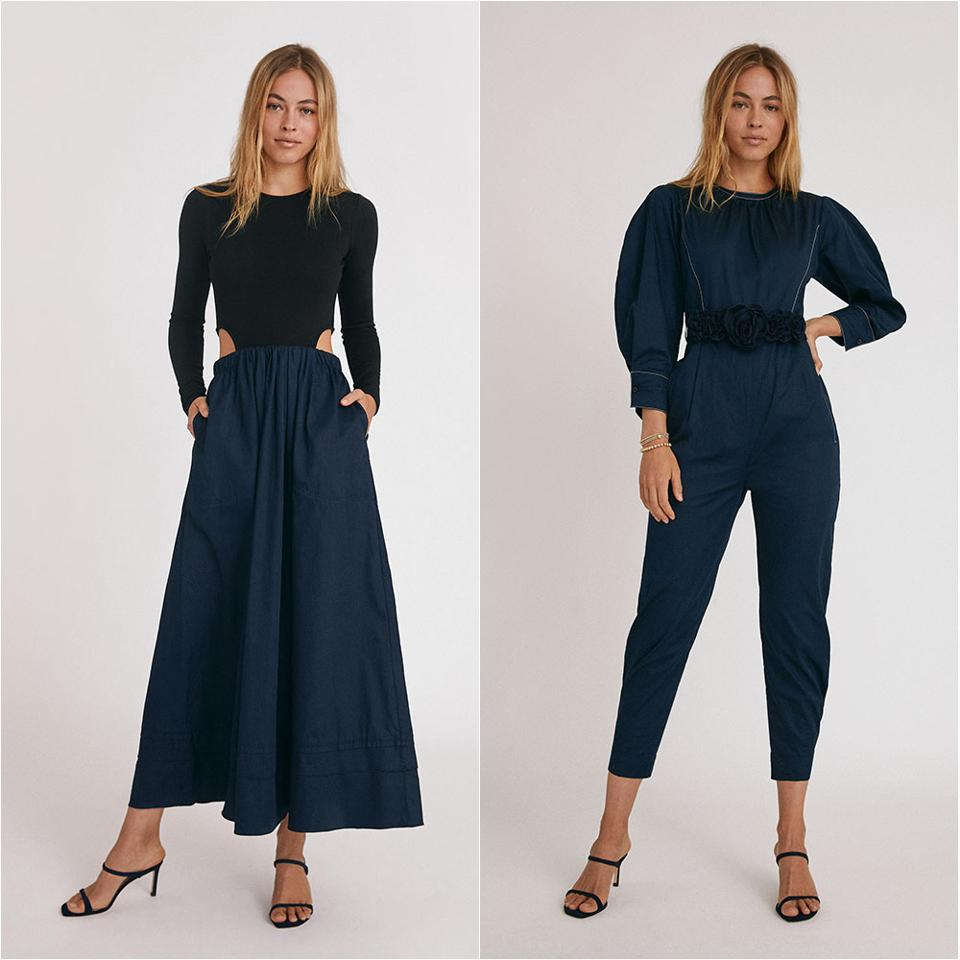 Two core looks from the newly launched Something Navy line by Arielle Charnas.