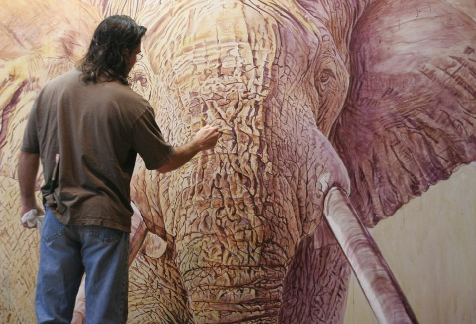 Conservation Africa News - John Banovich painting elephant
