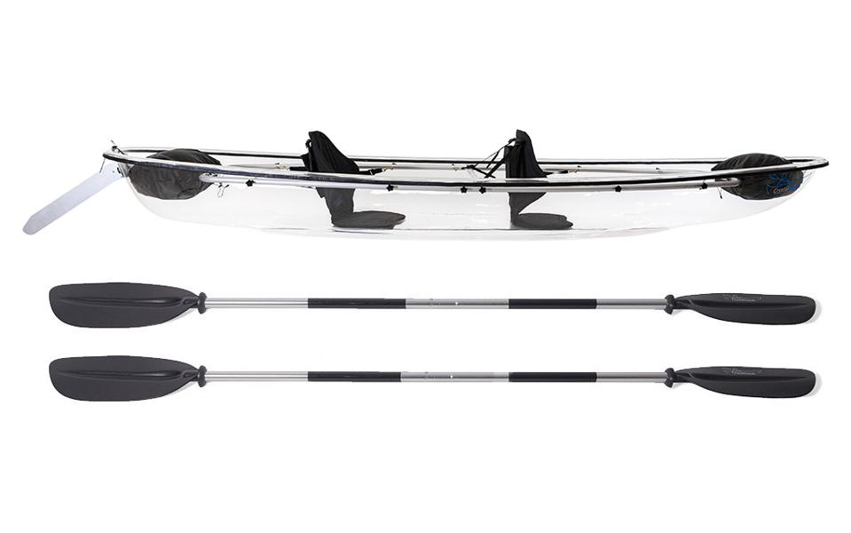 A clear bottom kayak and paddles.