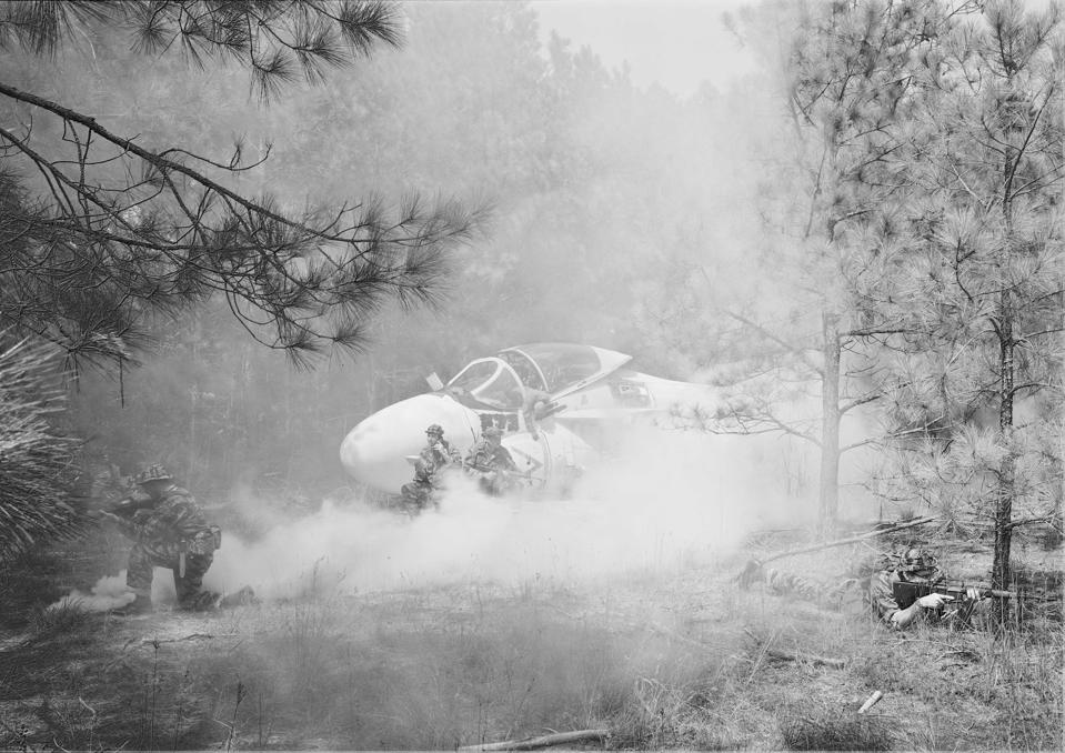 An-My Lê, Rescue, 1999-2002, From the series Small Wars. Gelatin silver print, 26 1/2 in. x 38 in. (67.31 x 96.52 cm). Image courtesy the artist and Marian Goodman Gallery ©2020 An-My Lê.