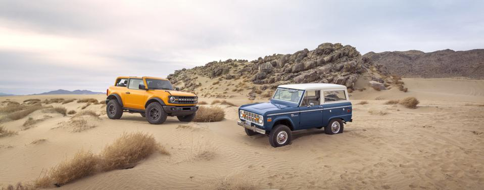 2021 Ford Bronco 2-door and 1966 Bronco