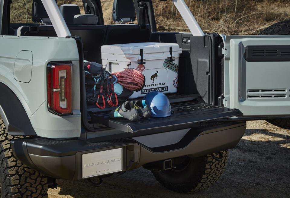2021 Ford Bronco tailgate swings out and a work panel can slide out