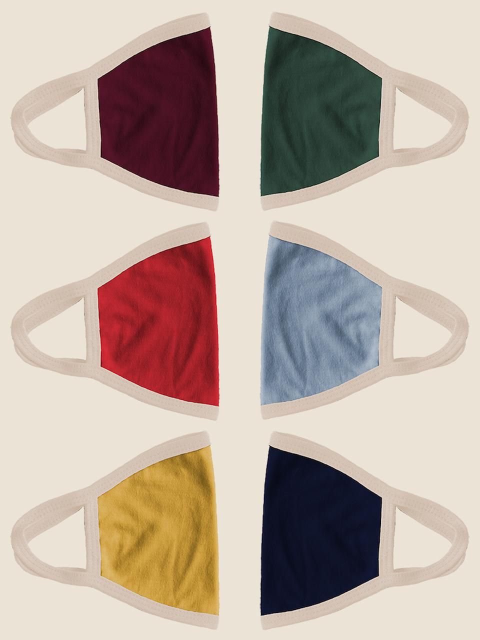 The CAMP Full-Color Ear Loops Mask 6 Pack includes six solid color masks with cream-colored ear loops.
