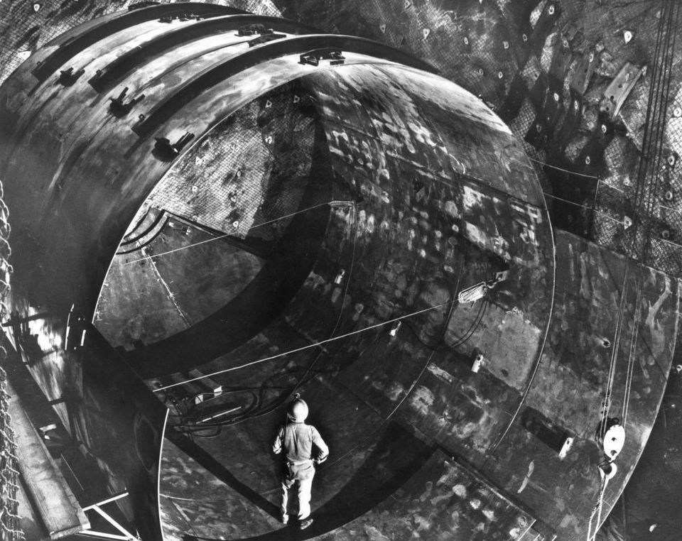 Construction of the solar neutrino experiment in the Homestake gold mine, circa 1960.