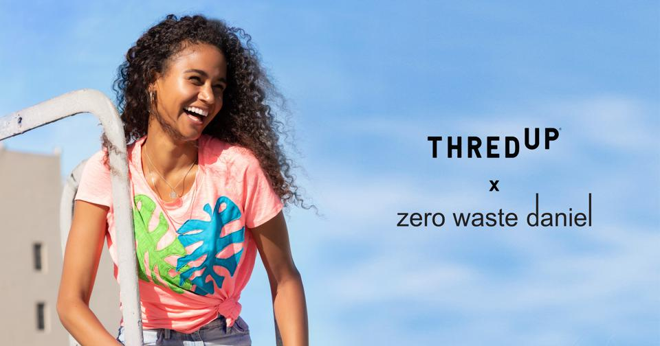 A model wearing one of ThredUP x zero waste daniel's collection decorated with an abstract leaf.