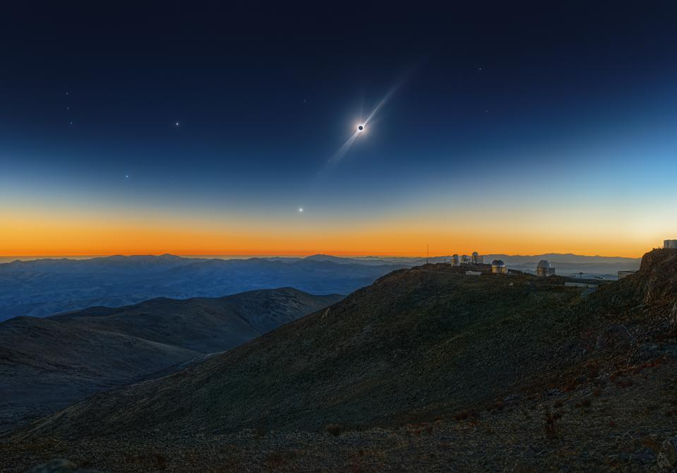 The 50th Anniversary of ESO's La Silla Observatory culminated with a breath-taking and very clear Total Solar Eclipse. In a very long process, the photographer calibrated, aligned and stacked 96 frames together, revealing the streamers and the faint corona. Stars also became visible, especially the red giant Betelgeuse (left) which started dimming in the months after. For the different star brightnesses of the tiny star dots the photographer used his action set RealStars; so he was able to show the brightness of Betelgeuse in comparision to Bellatrix and the other stars during daytime.