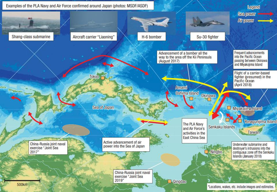 China's recent activities in the surrounding sea area and airspace of Japan
