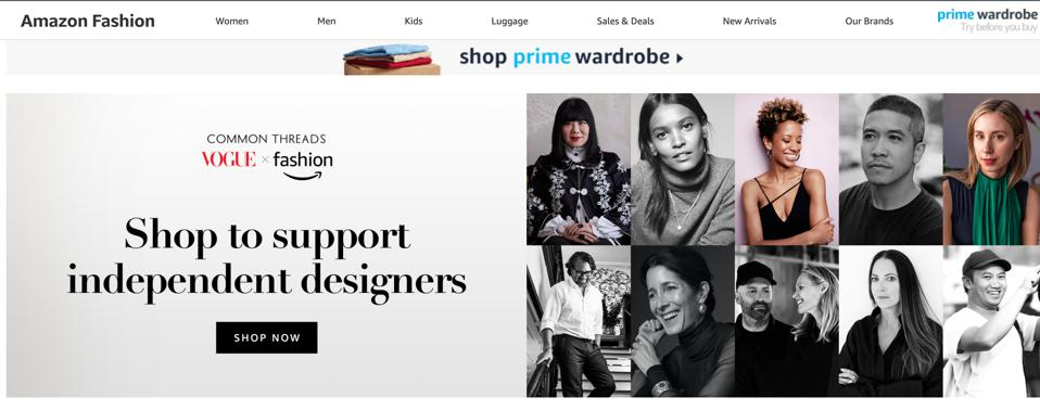 Amazon's landing page to include portraits of ten new designers on the Common Thread: Vogue X Amazon Fashion platform