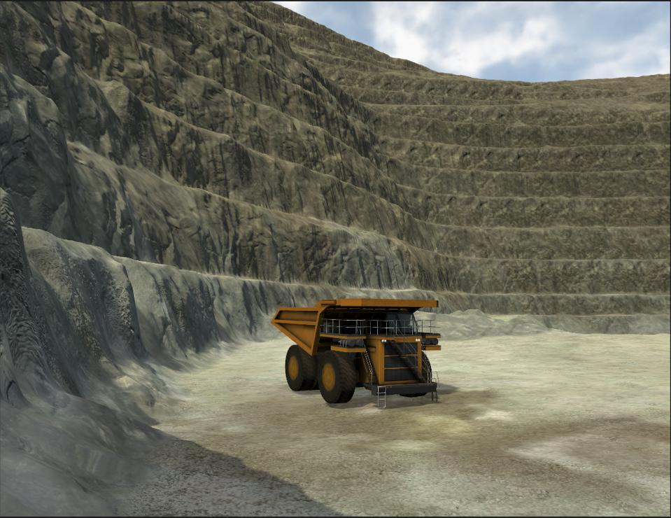Sim of an autonomous vehicle in a canyon