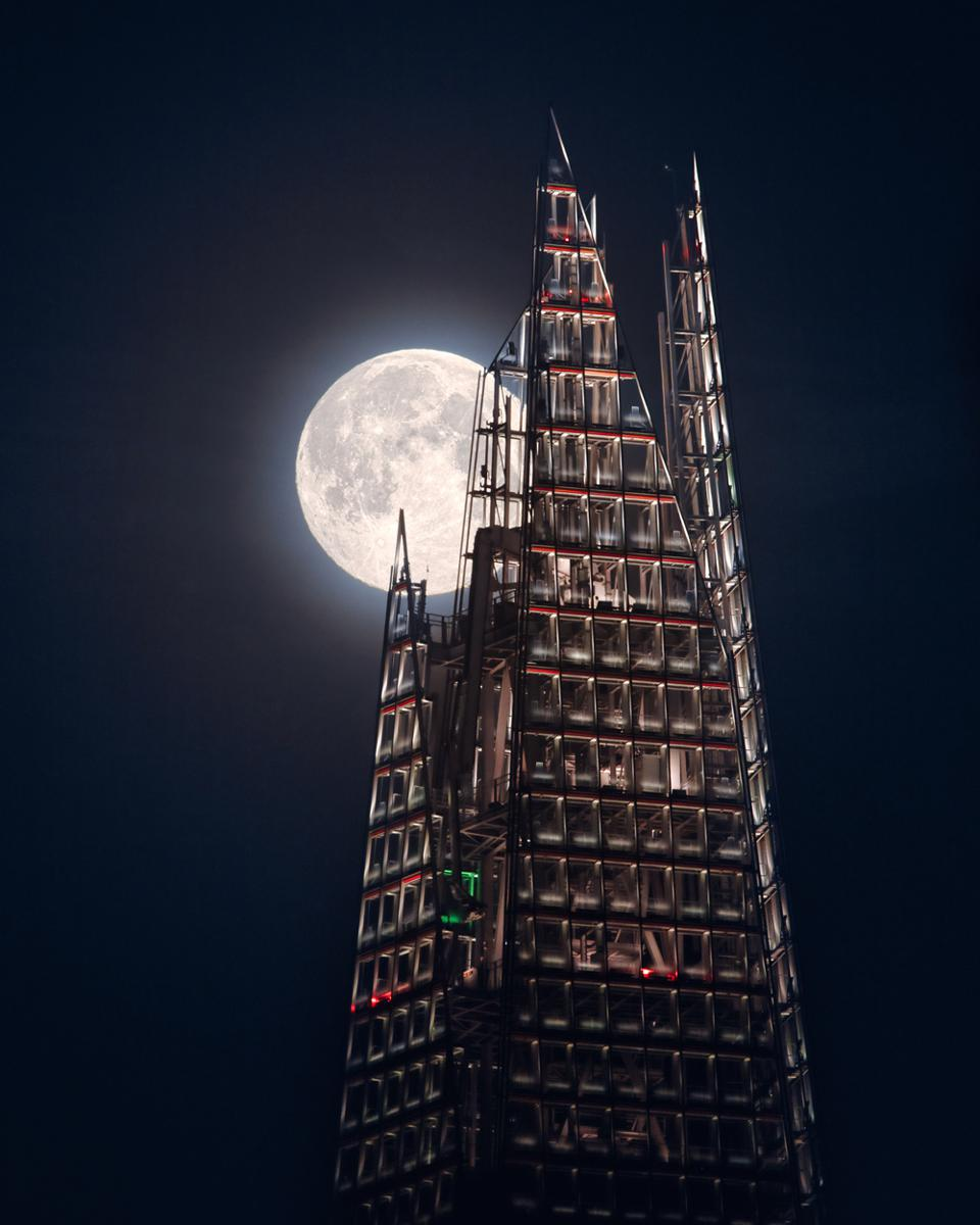 The Moon and the Shard: After three failed attempts, the photographer finally got to shoot an image of London's iconic Shard skyscraper with a full moon behind it. The moon races through frame meaning the photographer only had a few minutes to capture the shot.