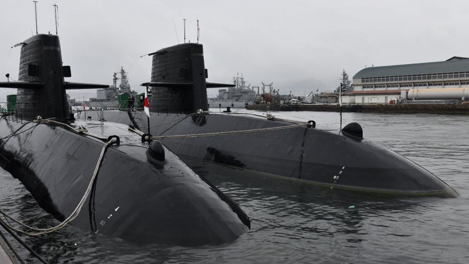 2 Japanese Navy (JMSDF) Oyashio class submarines