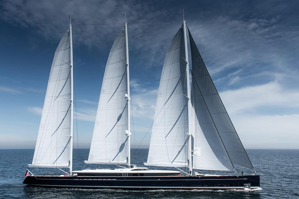 Sea Eagle II under full sail.266-foot-long sailing superyacht Sea Eagle II under full sail.