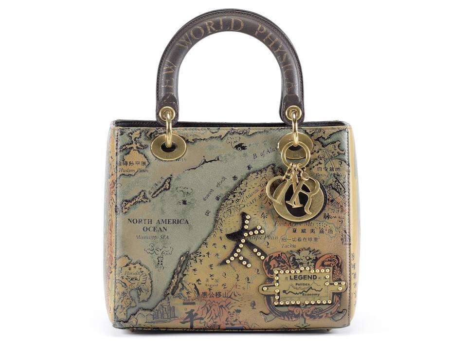 world map on handbag