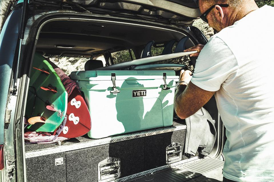 YETI cooler and surfboards