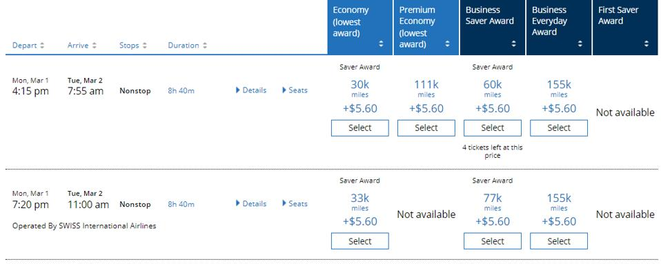 Sample United award availability comparison between a United-operated flight and a partner-operated flight