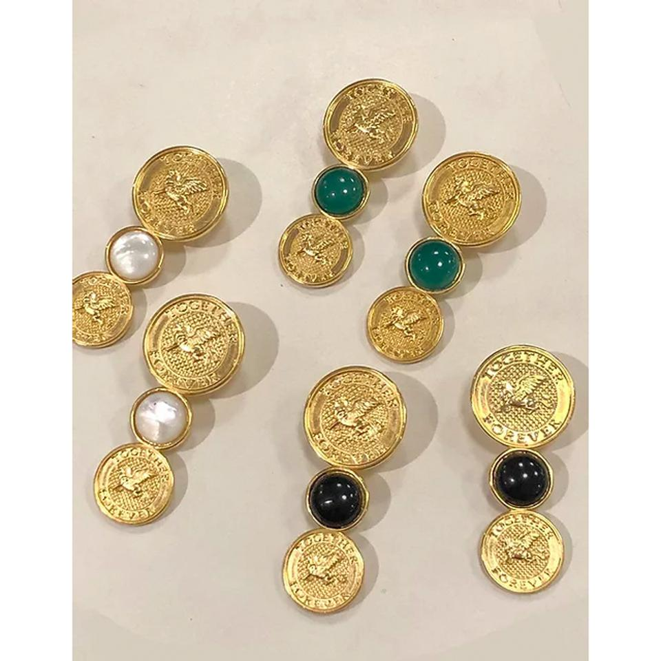 Isaiah Garza Gemstone Coin Lion Earrings