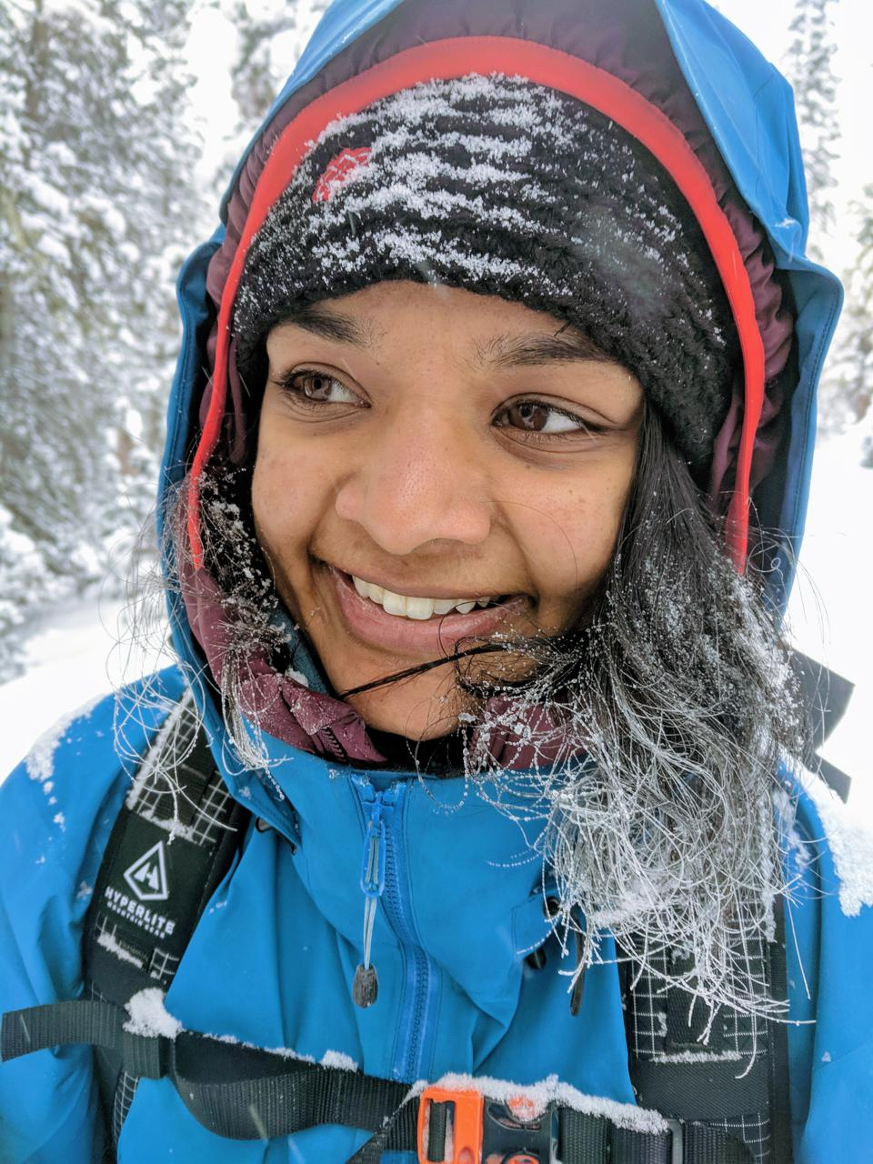 Amiti with snow brushed hair in winter